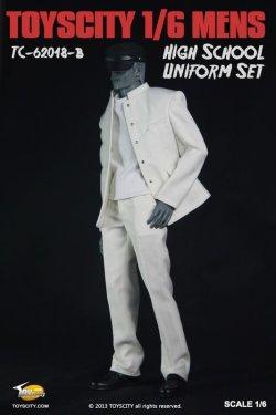 画像2: TOYSCITY 男性学生服セット(学生帽付き) (ブラック/ホワイト) 1/6 *お取り寄せ