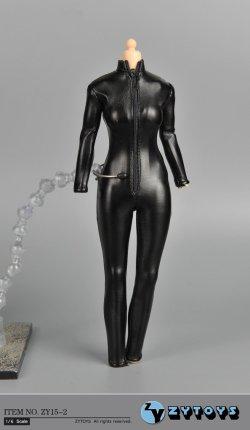 画像1: ZYTOYS 1/6 女性ブラック レザー ジャンプスーツ *お取り寄せ