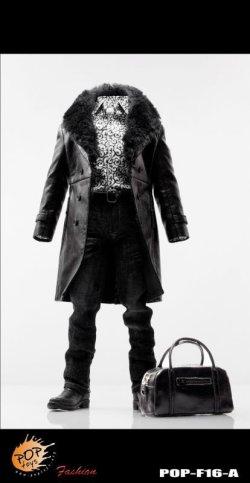画像1: POPTOYS 1/6 マフィアスタイル レザー  ドレススーツ セットA (ブラック)  *お取り寄せ