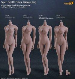 画像2: Phicen 1/6 【最新版】 シームレス女性素体 Super-Flexible Stainless Steel Skeleton S12D (ラージバスト/サンタン) ヘッドなし フットパーツ着脱 *予約