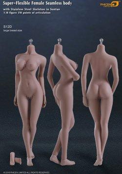 画像1: Phicen 1/6 【最新版】 シームレス女性素体 Super-Flexible Stainless Steel Skeleton S12D (ラージバスト/サンタン) ヘッドなし フットパーツ着脱 *予約