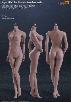 画像1: Phicen 1/6 シームレス女性素体 Super-Flexible Stainless Steel Skeleton S02A (ミドルバスト/サンタン) ヘッドなし *お取り寄せ