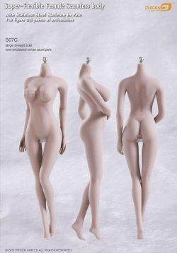 画像1: Phicen 1/6 シームレス女性素体 Super-Flexible Stainless Steel Skeleton S07C (ラージバスト/ペイル) ヘッドなし *お取り寄せ