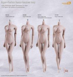 画像2: Phicen 1/6 【最新版】 シームレス女性素体 Super-Flexible Stainless Steel Skeleton S10D (ラージバスト/ペイル) ヘッドなし フットパーツ着脱 *お取り寄せ