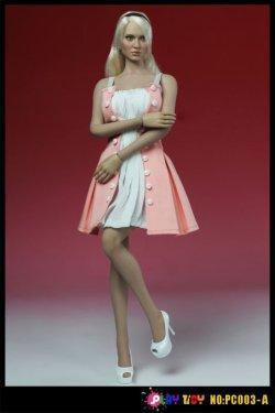 画像1: PLAY TOY 1/6 女性パーティードレスセット (ピンク×ホワイト)