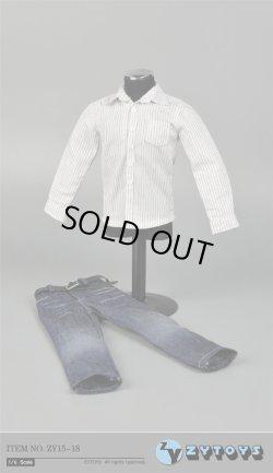 画像1: ZYTOYS 1/6 男性ストライプシャツ&ジーンズ セット *お取り寄せ