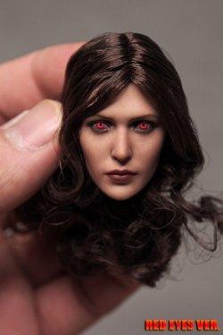 画像1: Custom 1/6 RW 女性ヘッド ブラウンロングカーリーヘア R-eye SW *お取り寄せ