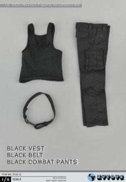 画像5: ZYTOYS 1/6 男性ブラック コンバット タンクトップ&パンツセット *お取り寄せ