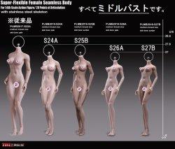 画像1: TBLeague 1/6 スーパーフレキシブル アジア女性 シームレスボディ 素体 ミドルバスト ペール/サンタン ヘッドなし フットパーツ着脱可 S24A S25B S26A S27B *お取り寄せ
