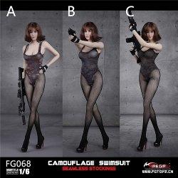 画像1: Fire Girl Toys 1/6 FG068 カモ スイムスーツ with シームレス ストッキング 3種 *お取り寄せ
