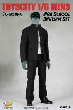 画像1: TOYSCITY 男性学生服セット(学生帽付き) (ブラック/ホワイト) 1/6 *お取り寄せ