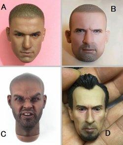 画像1: カスタム 1/6 Prison men male ヘッド (A-D)  *お取り寄せ