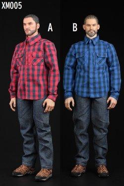 画像1: XRF 1/6 XM005 メンズ 男性 チェック柄 長袖シャツ & ジーンズ セット 2種 *予約