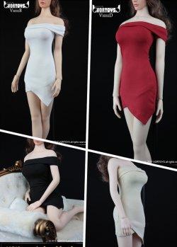 画像1: VORTOYS 1/6 女性 ワンショルダー ショートドレス&ハイヒール セット V1011-A/ B/ C/ D *お取り寄せ