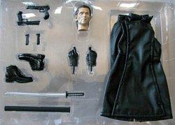 画像1: リベリオン風コスチューム(ブラック) 男性用黒革風 コート&ガンセット